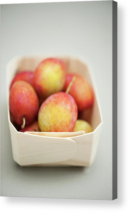 Plum Acrylic Print featuring the photograph Punnet Of Victoria Plums by Diana Miller