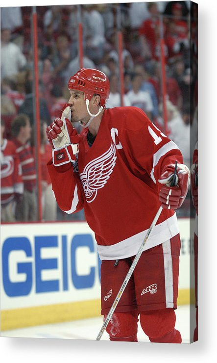 Playoffs Acrylic Print featuring the photograph Red Wings V Hurricanes by Dave Sandford