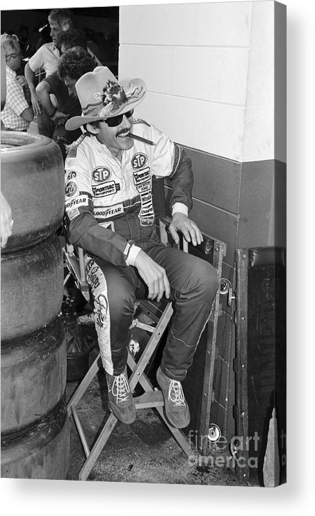 1980-1989 Acrylic Print featuring the photograph Richard Petty Sitting In Directors Chair by Bettmann