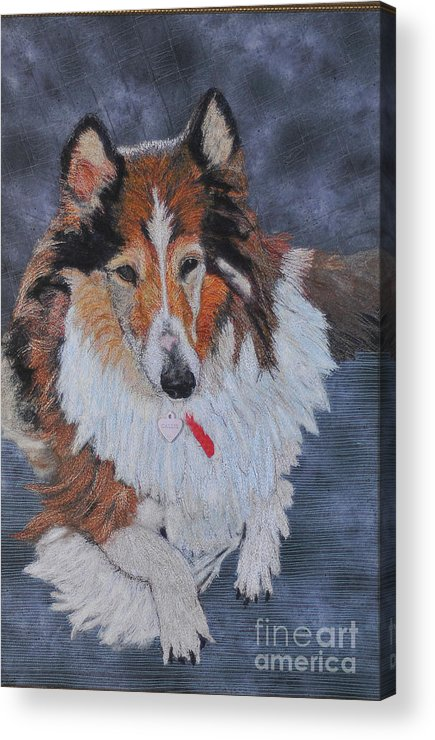 Rough Collie Acrylic Print featuring the tapestry - textile rough Collie by Dolores Fegan