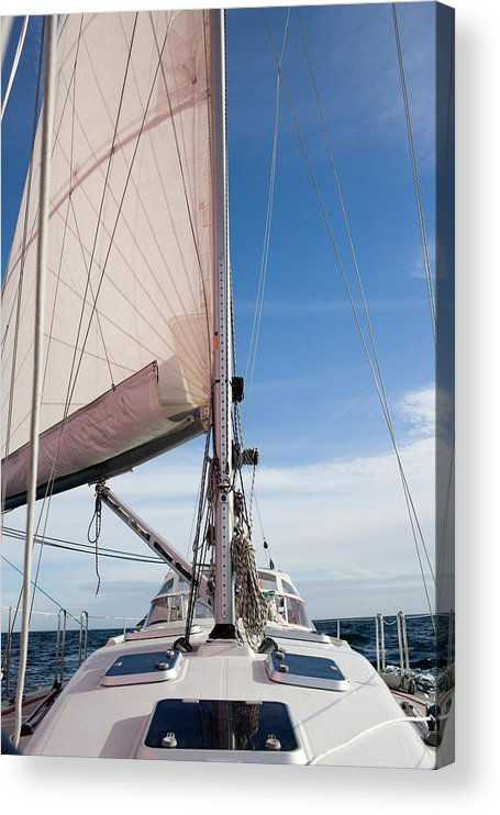 Baltic Sea Acrylic Print featuring the photograph Sailing Boat In Sea by Bjurling, Hans