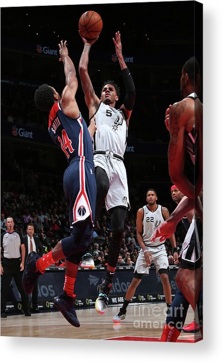 Nba Pro Basketball Acrylic Print featuring the photograph San Antonio Spurs V Washington Wizards by Ned Dishman
