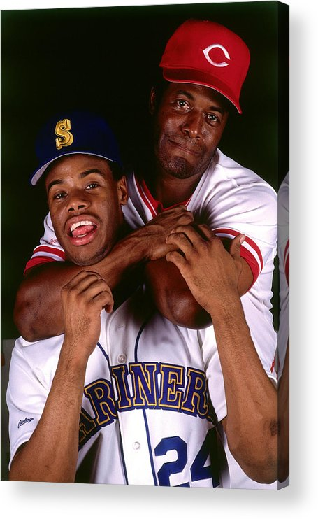 1980-1989 Acrylic Print featuring the photograph Seattle Mariners Cincinnati Reds by Ronald C. Modra/sports Imagery