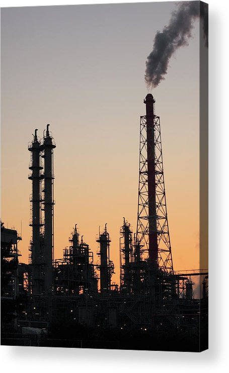 Built Structure Acrylic Print featuring the photograph Silhouette Of Petrochemical Plant by Hiro/amanaimagesrf
