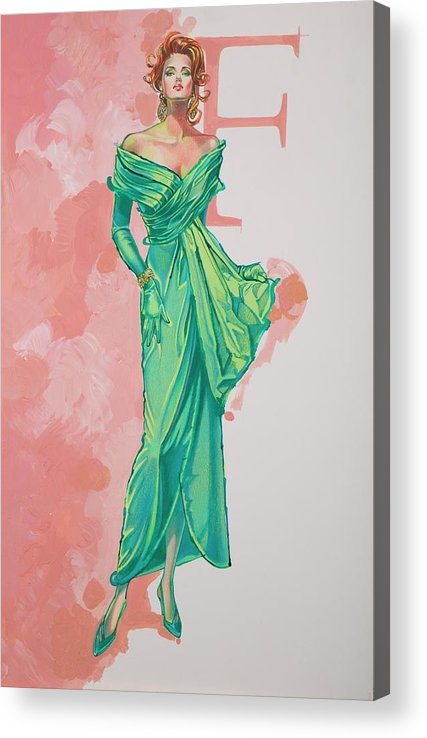 Fashion Illustration Acrylic Print featuring the painting Spring Fling by Barbara Tyler Ahlfield