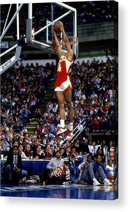 1980-1989 Acrylic Print featuring the photograph Spud Webb Reverse Dunk Slam Dunk by Andrew D. Bernstein
