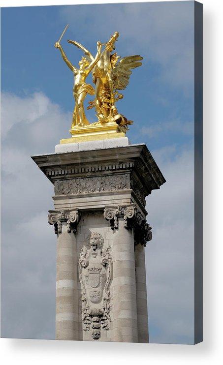 Statue Acrylic Print featuring the photograph Statue, Alexandre 3 Bridge In Paris by Riou