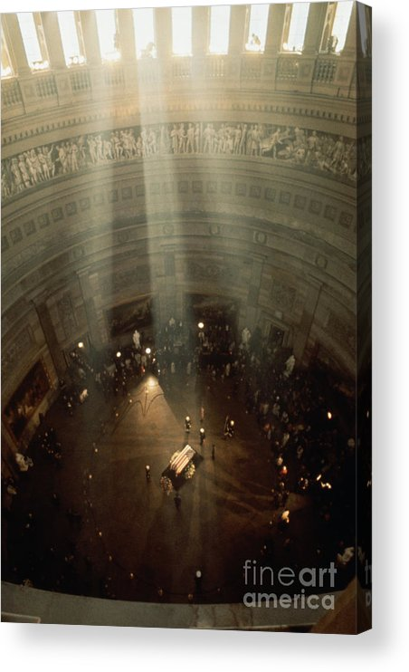 Crowd Of People Acrylic Print featuring the photograph Sunlight Shining On Kennedys Coffin by Bettmann