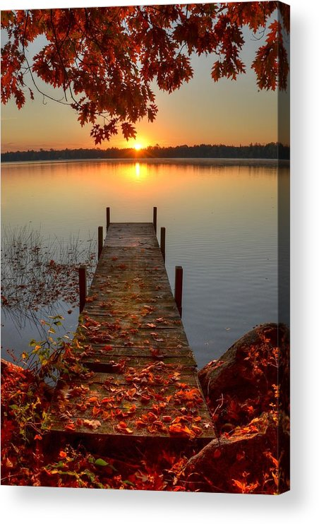 Scenics Acrylic Print featuring the photograph Sunrise On Pelican Lake by Sherry Slabik