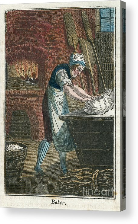 Working Acrylic Print featuring the drawing The Baker Kneading Dough On The Lid by Print Collector
