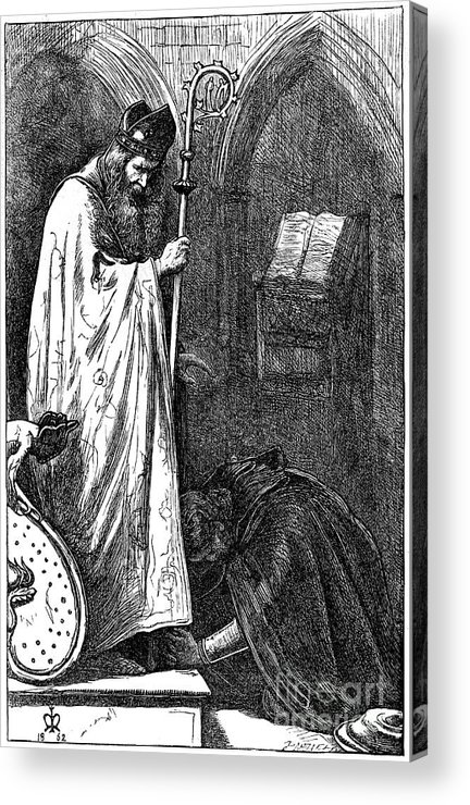 Pre-raphaelite Acrylic Print featuring the drawing The Bishop And The Knight, 1862. Artist by Print Collector