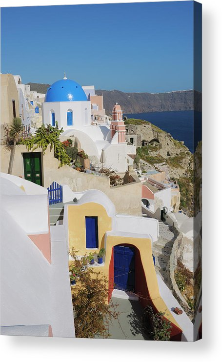Greek Culture Acrylic Print featuring the photograph Traditional Greek Houses And Curch by Martin Ruegner