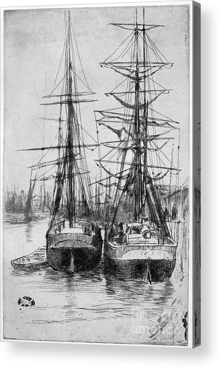 Etching Acrylic Print featuring the drawing Two Ships, 19th Century 1904.artist by Print Collector