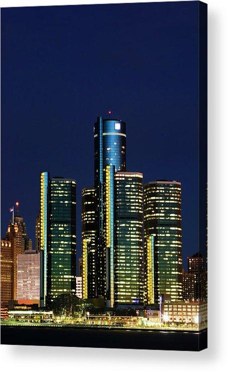 Detroit Acrylic Print featuring the photograph Usa, Michigan, Detroit, Skyline & by Walter Bibikow