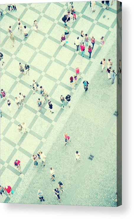 Pedestrian Acrylic Print featuring the photograph Walking People by Carlo A