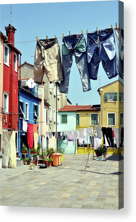 Hanging Acrylic Print featuring the photograph Washday In Burano by Paul Biris