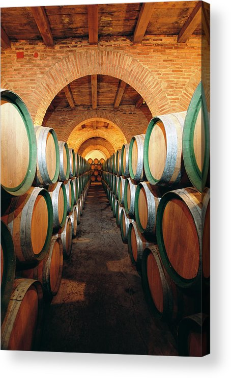 Working Acrylic Print featuring the photograph Wine Barrels In Cellar, Spain by Johner Images