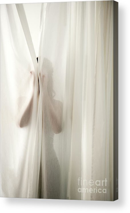 Hiding Acrylic Print featuring the photograph Woman Behind Curtains by Wealan Pollard