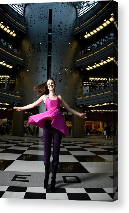 People Acrylic Print featuring the photograph Woman Dancing In Old Brewery Shopping by Tim E White