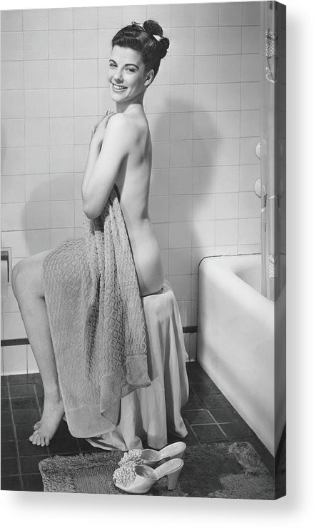 Looking Over Shoulder Acrylic Print featuring the photograph Woman Sitting In Bathroom, Covering by George Marks