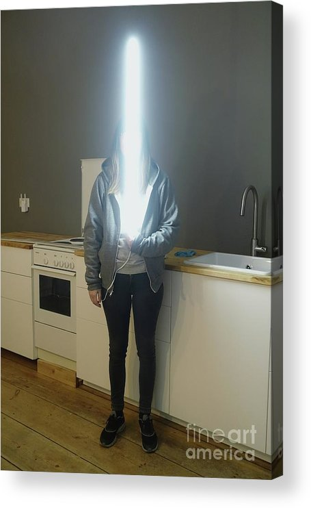 Mid Adult Women Acrylic Print featuring the photograph Woman With Laser Sword Standing by Sven Gabriel / Eyeem