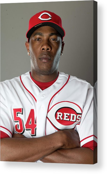 American League Baseball Acrylic Print featuring the photograph Aroldis Chapman by Mike Mcginnis