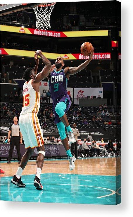 Nba Pro Basketball Acrylic Print featuring the photograph Atlanta Hawks v Charlotte Hornets by Kent Smith