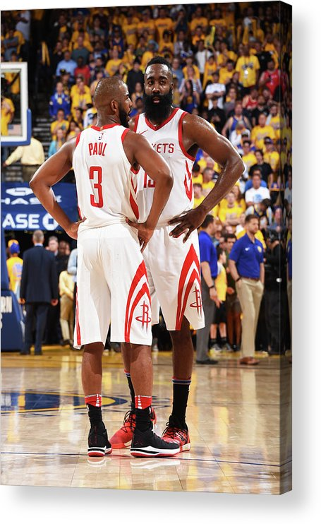 Playoffs Acrylic Print featuring the photograph Chris Paul and James Harden by Andrew D. Bernstein