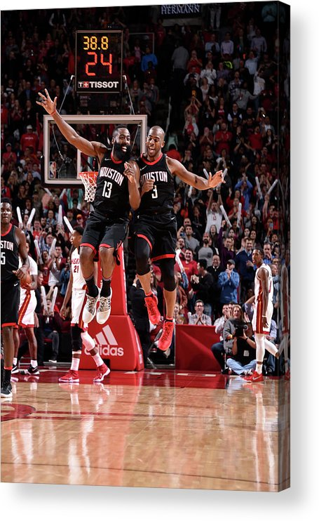 Nba Pro Basketball Acrylic Print featuring the photograph Chris Paul and James Harden by Bill Baptist