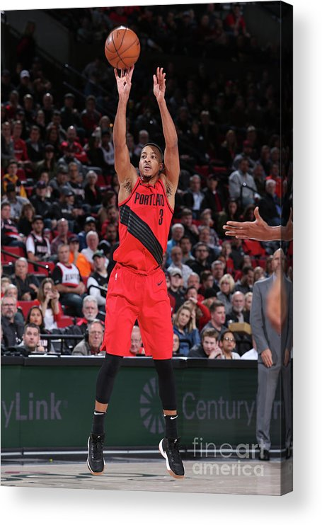 Nba Pro Basketball Acrylic Print featuring the photograph C.j. Mccollum by Sam Forencich
