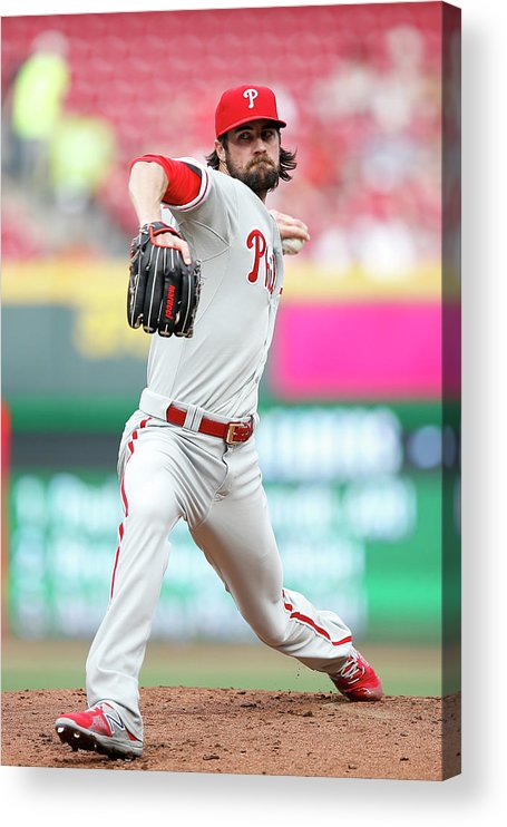 Great American Ball Park Acrylic Print featuring the photograph Cole Hamels by Joe Robbins