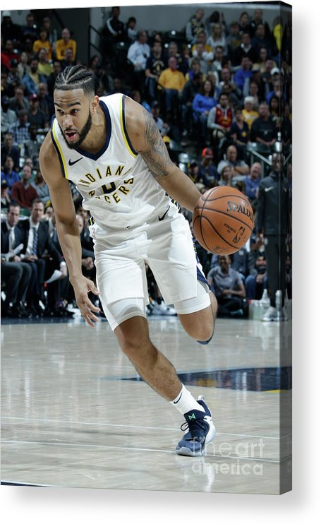 Nba Pro Basketball Acrylic Print featuring the photograph Cory Joseph by Ron Hoskins