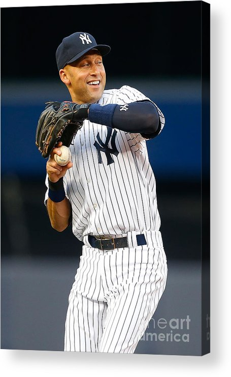 People Acrylic Print featuring the photograph Derek Jeter by Mike Stobe