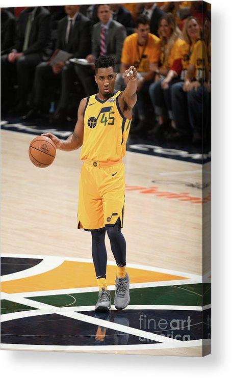 Playoffs Acrylic Print featuring the photograph Donovan Mitchell by Garrett Ellwood