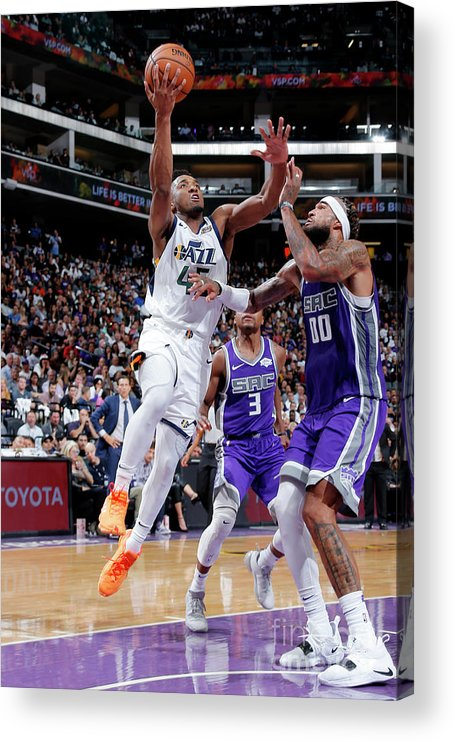 Nba Pro Basketball Acrylic Print featuring the photograph Donovan Mitchell by Rocky Widner