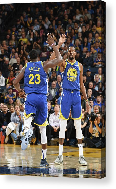 Nba Pro Basketball Acrylic Print featuring the photograph Draymond Green and Kevin Durant by Noah Graham
