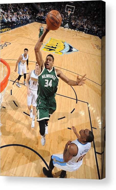 Nba Pro Basketball Acrylic Print featuring the photograph Giannis Antetokounmpo by Garrett Ellwood