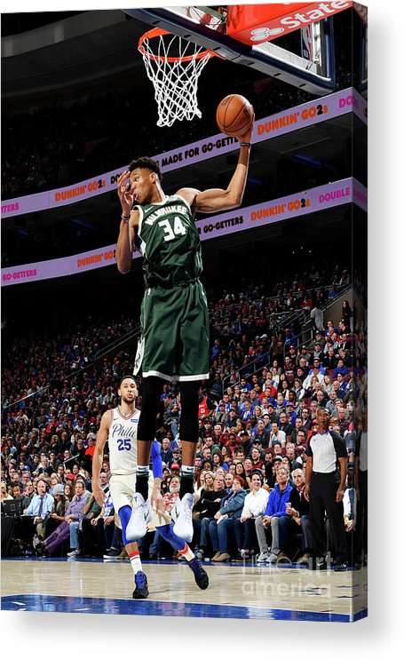Nba Pro Basketball Acrylic Print featuring the photograph Giannis Antetokounmpo by Jesse D. Garrabrant