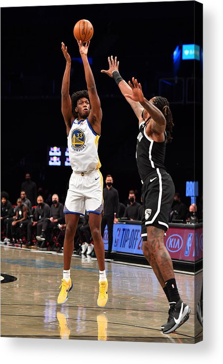 Nba Pro Basketball Acrylic Print featuring the photograph Golden State Warriors v Brooklyn Nets by Jesse D. Garrabrant
