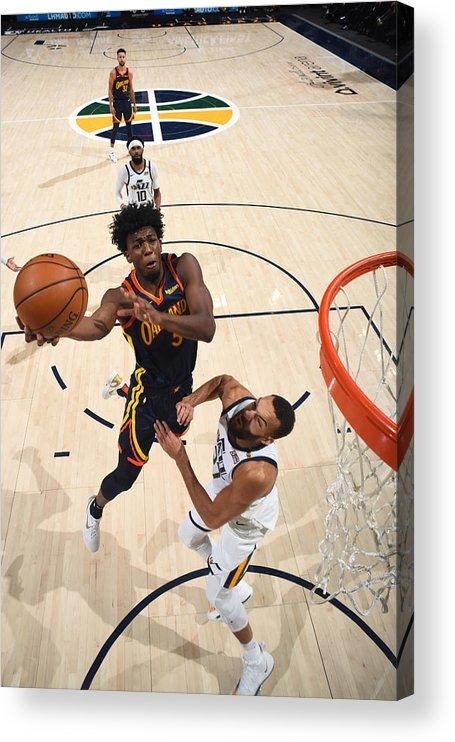 Nba Pro Basketball Acrylic Print featuring the photograph Golden State Warriors v Utah Jazz by Garrett Ellwood