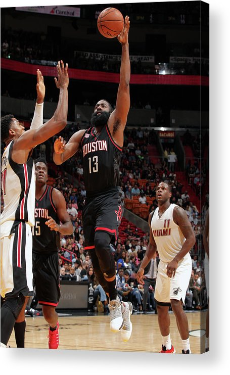 Nba Pro Basketball Acrylic Print featuring the photograph James Harden by Oscar Baldizon