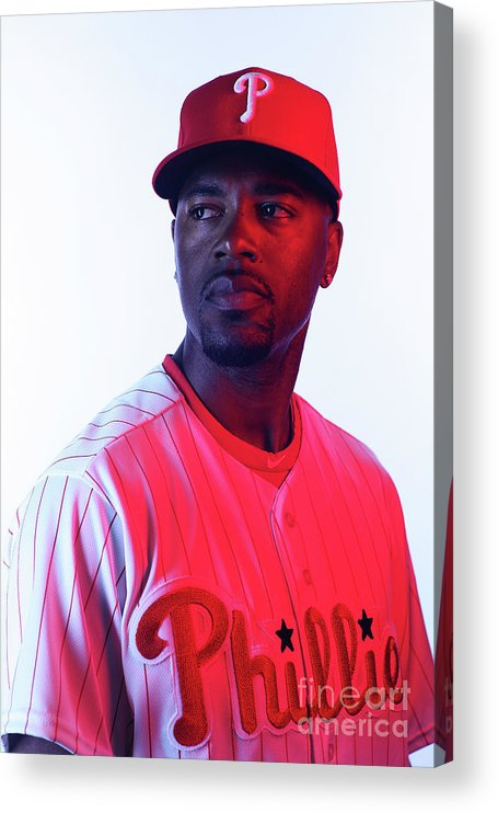 Media Day Acrylic Print featuring the photograph Jimmy Rollins by Nick Laham