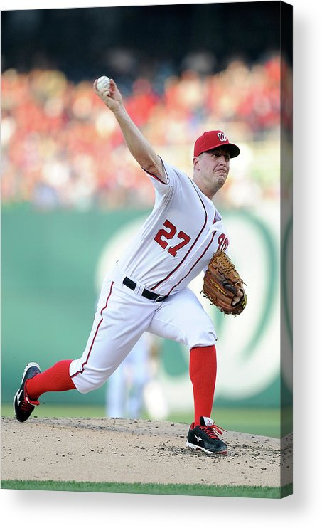 Second Inning Acrylic Print featuring the photograph Jordan Zimmermann by Greg Fiume