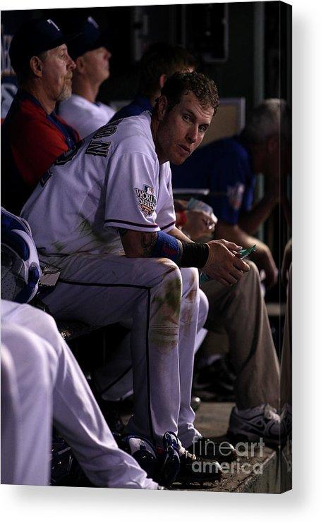 American League Baseball Acrylic Print featuring the photograph Josh Hamilton by Christian Petersen