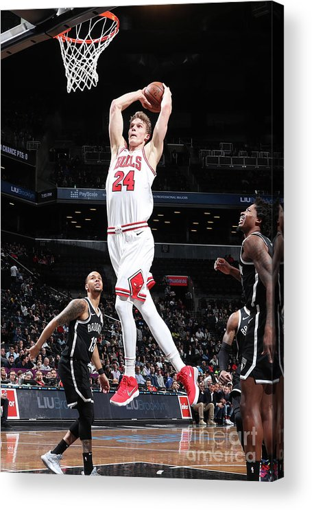 Chicago Bulls Acrylic Print featuring the photograph Lauri Markkanen by Nathaniel S. Butler