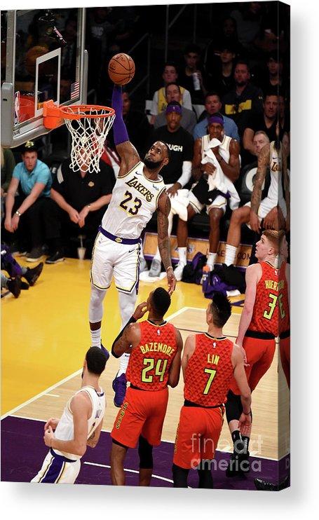 Nba Pro Basketball Acrylic Print featuring the photograph Lebron James by Adam Pantozzi