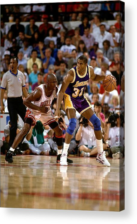 Nba Pro Basketball Acrylic Print featuring the photograph Magic Johnson and Michael Jordan by Andrew D. Bernstein