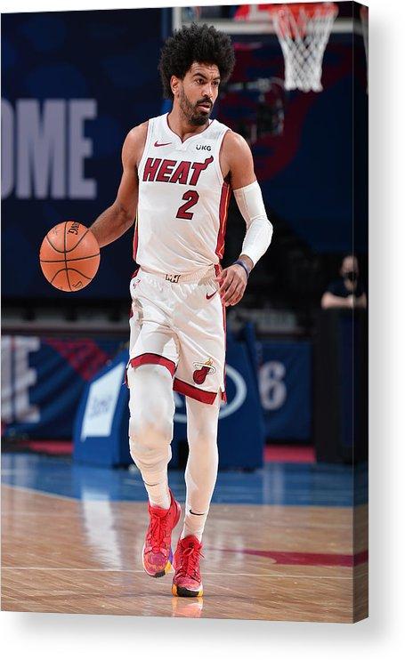 Nba Pro Basketball Acrylic Print featuring the photograph Miami Heat v Philadelphia 76ers by David Dow