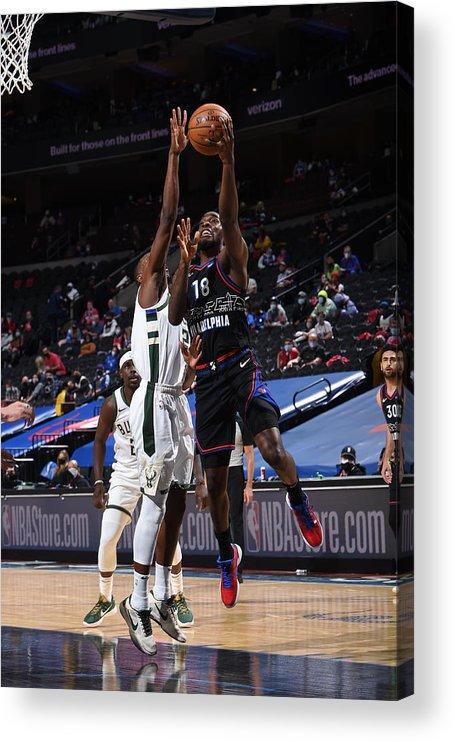 Nba Pro Basketball Acrylic Print featuring the photograph Milwaukee Bucks v Philadelphia 76ers by David Dow