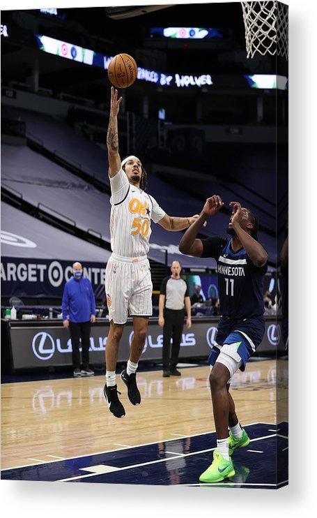 Nba Pro Basketball Acrylic Print featuring the photograph Orlando Magic v Minnesota Timberwolves by Jordan Johnson